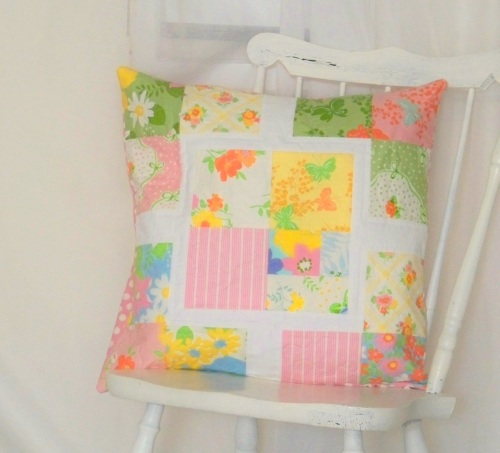 Modern patchwork pillow in Dream On fabric